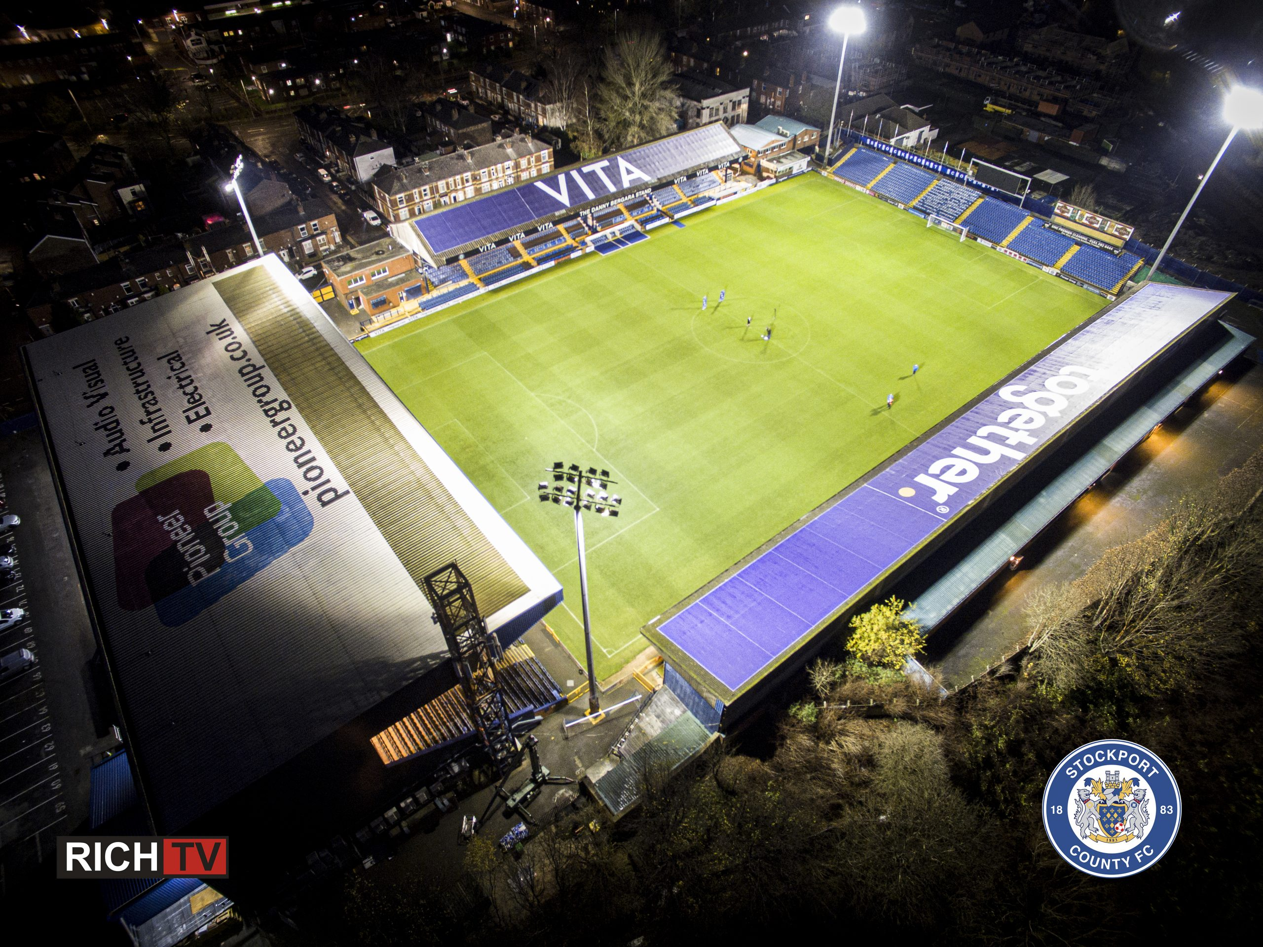 Logos on Stockport County night shot